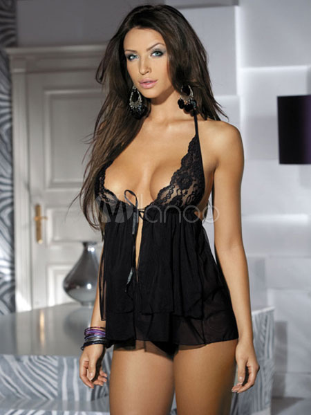 Scalloped Stretch Lace Babydoll