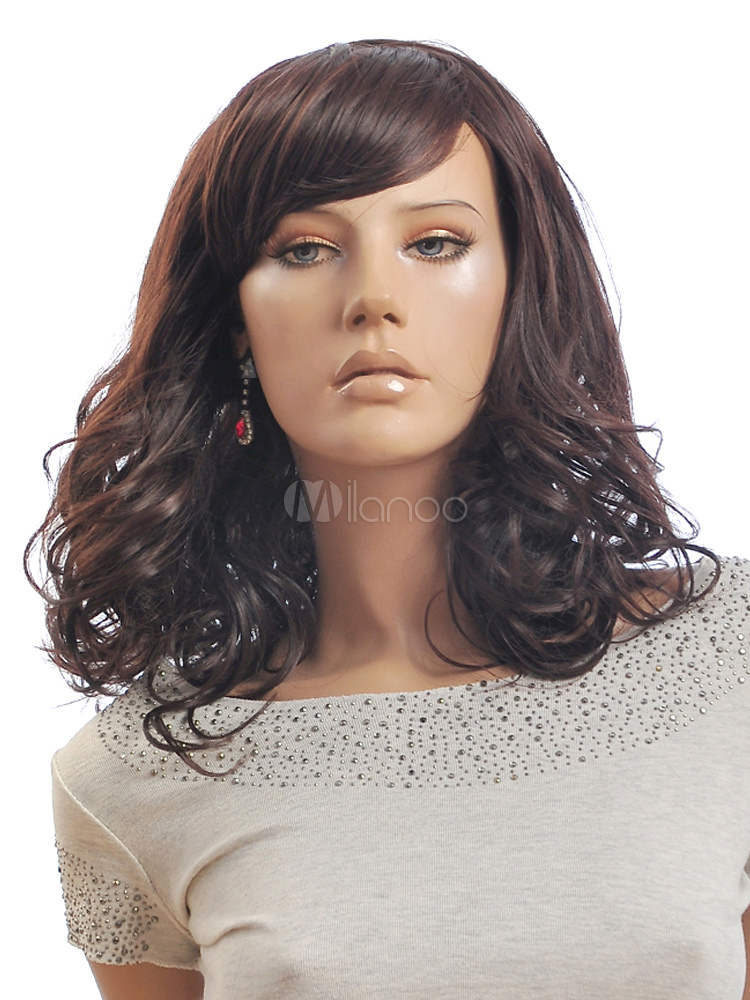 Buy Brown Spiral Curls Simple Heat-resistant Fiber Medium Wig For Women for $18.39 in Milanoo store
