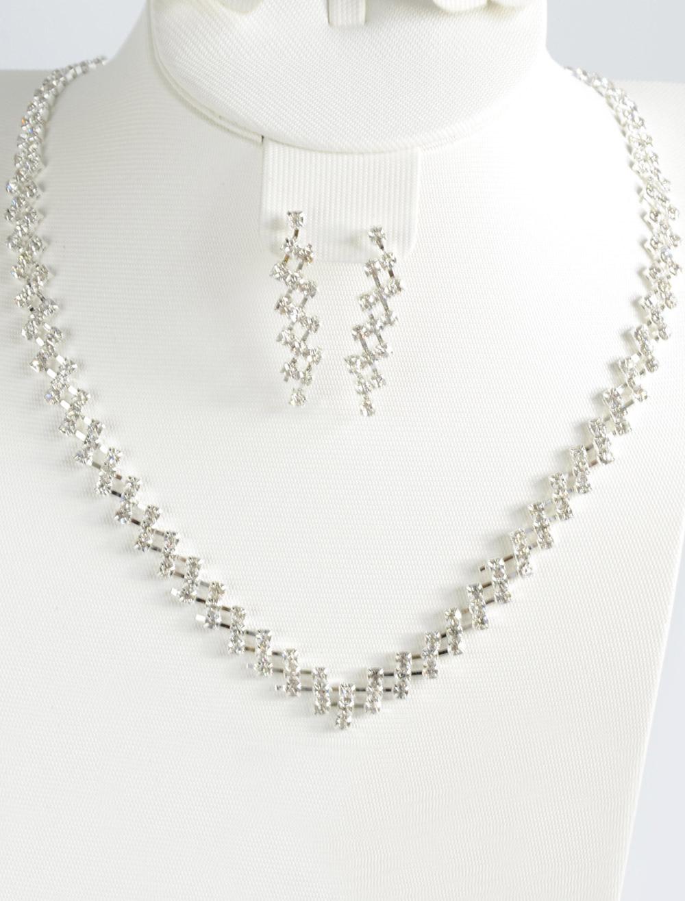Silver Wedding Necklace and Earrings Rhinestone Pierced Metal  Jewelry Set