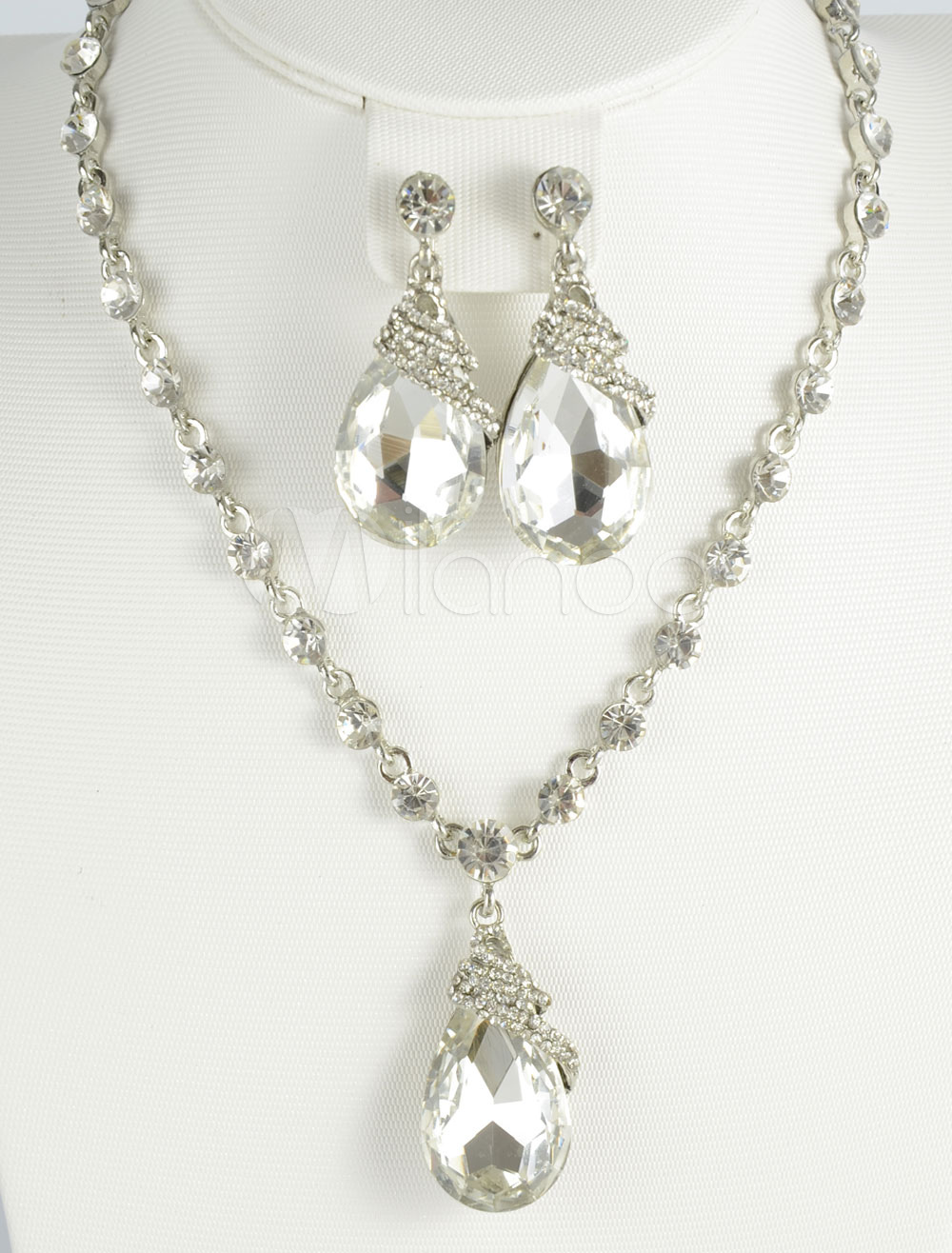 Silver Wedding Jewelry Set Rhinestone Metal Necklace and Earrings Set