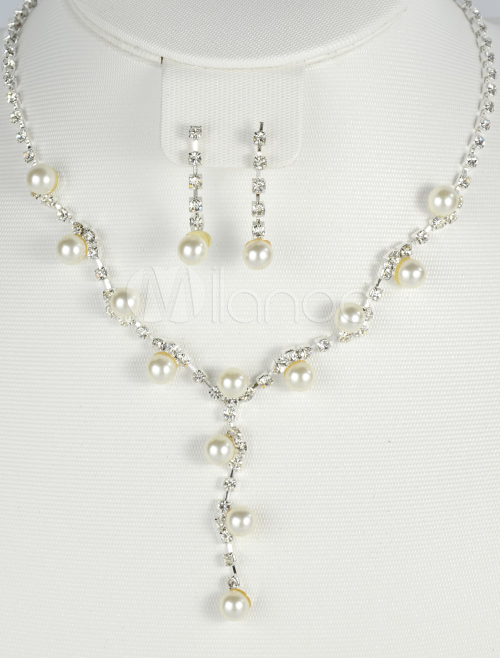 Silver Pearl Rhinestone Wedding Earrings and Necklace Jewelry Set