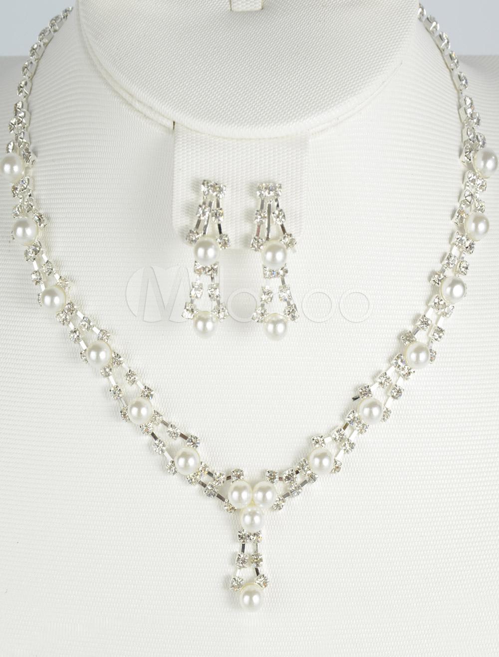 Imitation Pearl Earclip Metal Chic Fashion Wedding Jewelry Set