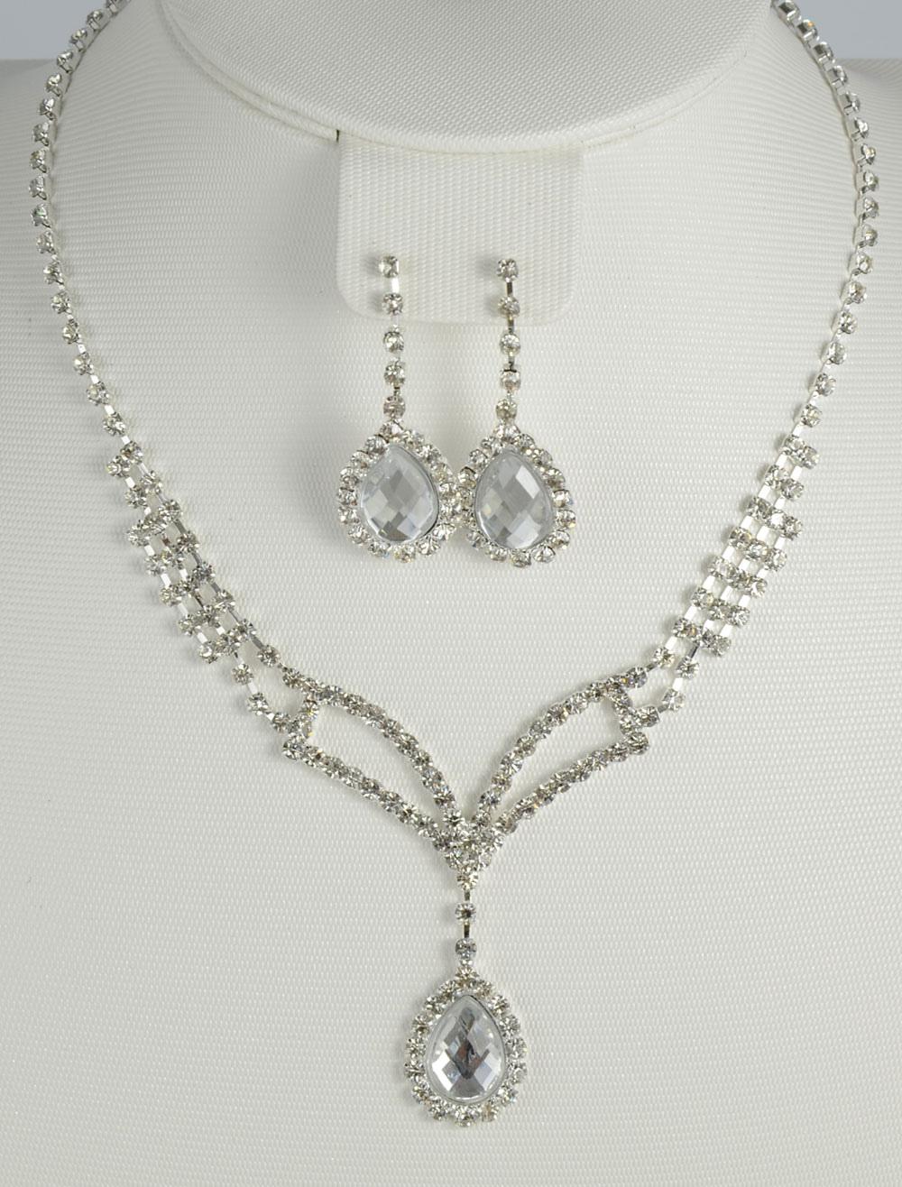 Silver Drop Rhinestone Metal Bridal Jewelry Set