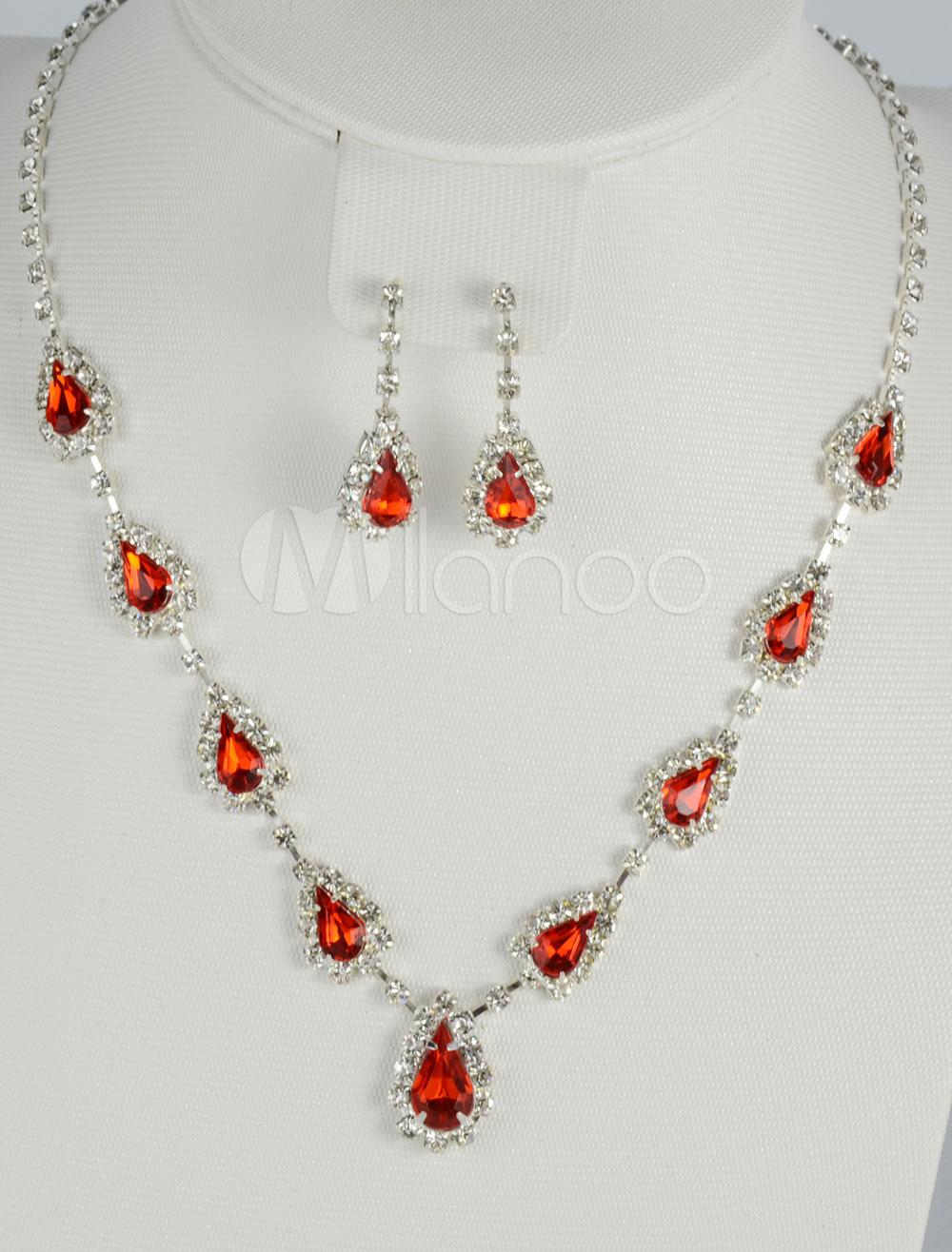 Charming Metal Rhinestone Jewelry Set For Bridal