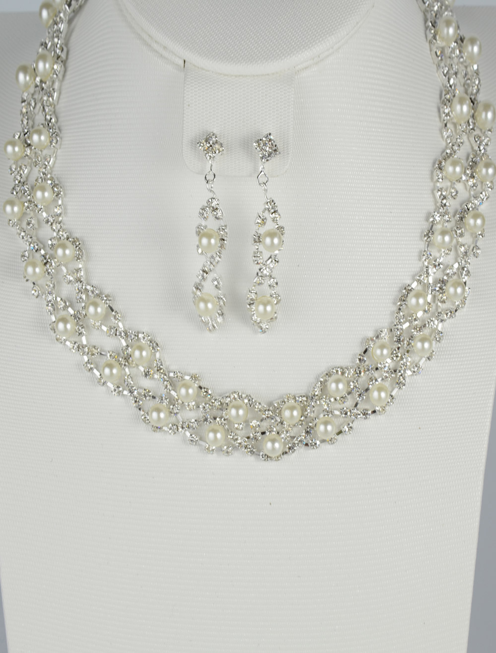 Silver Trendy Pearl Rhinestone Wedding Earrings and Necklace Jewelry Set