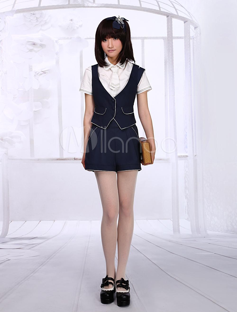 Sweet Deep Blue Cotton Short Sleeves Lolita Outfits
