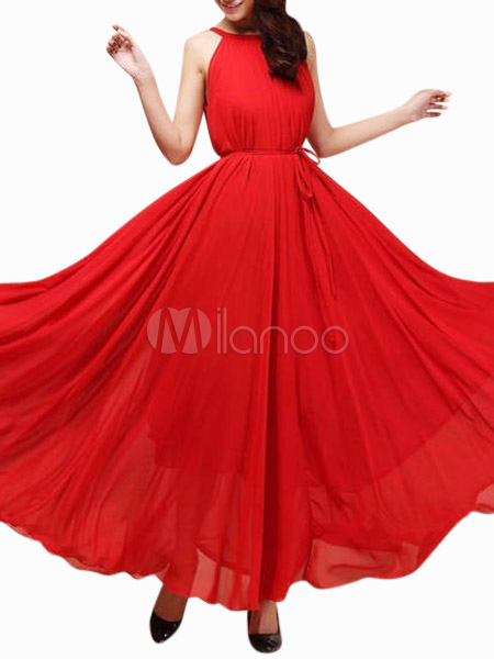 Crewneck Pleated Oversized Chiffon Maxi Dress