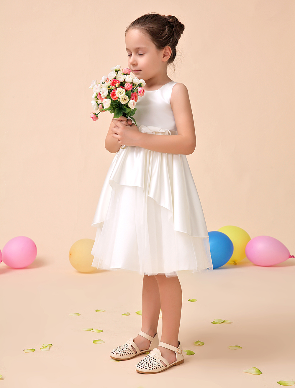 Buy Ivory A-line Square Neck Knee-Length Flower Satin Flower Girl Dress for $39.19 in Milanoo store