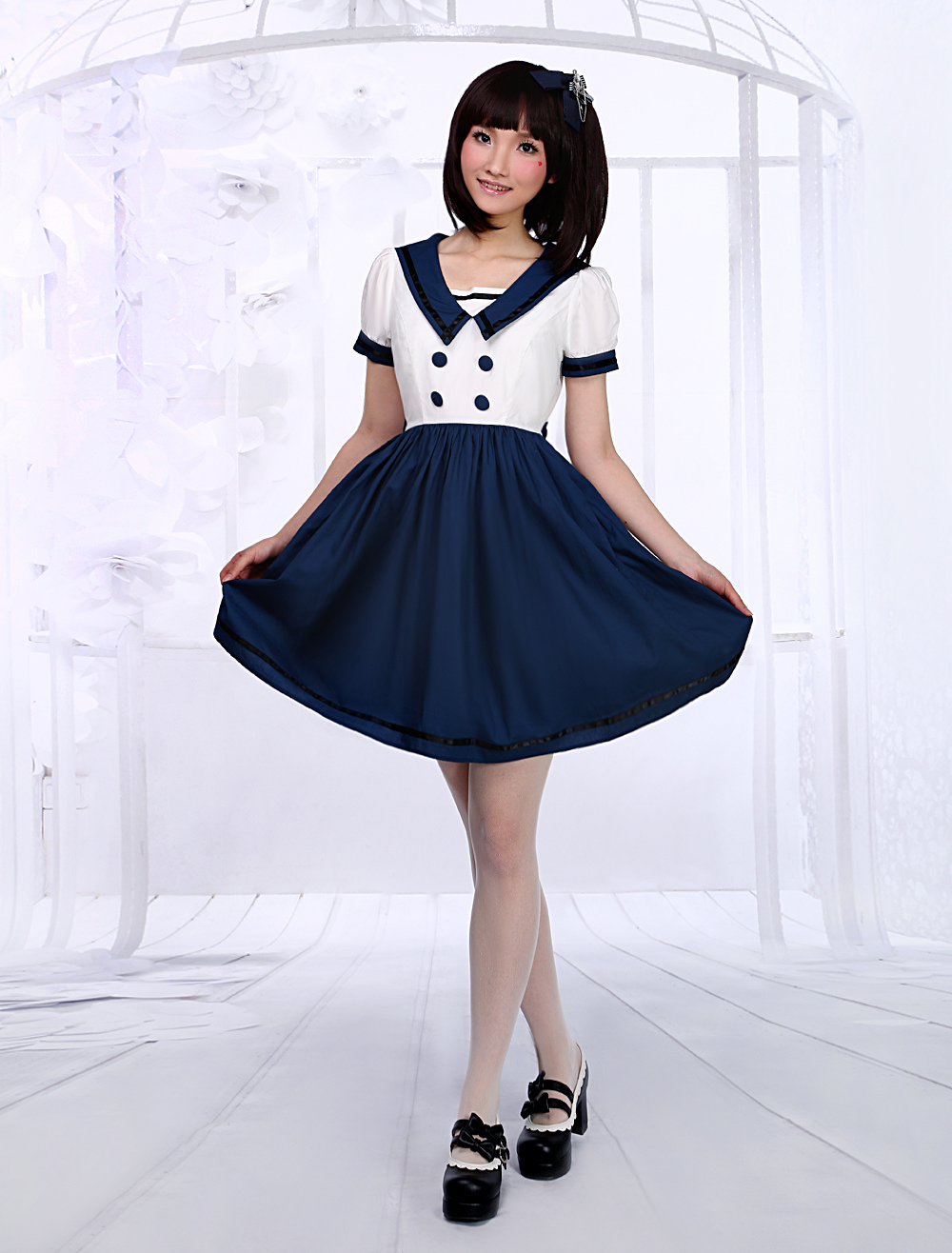 White Navy Blue Lolita One-piece Dress Sailor Style Short Sleevs