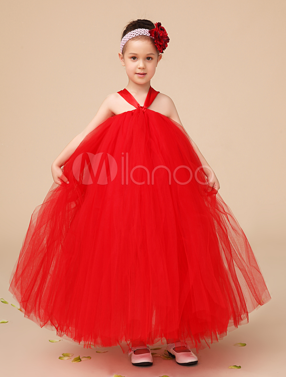 A-line Ankle-Length Red Tulle Girls Pageant Dresses