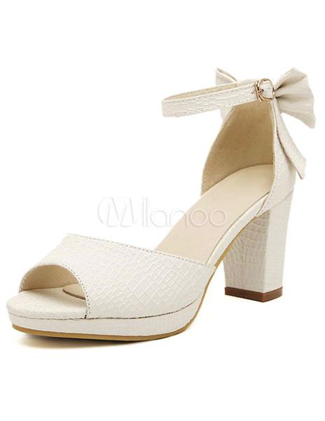 ada9620f6f0c Fabulous White Chunky Heel Bow PU Leather Women s Peep Toe Shoes ...