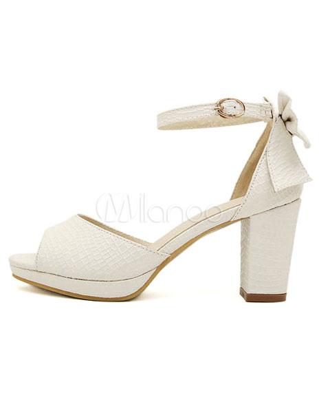 2789a19e4af5 ... Fabulous White Chunky Heel Bow PU Leather Women s Peep Toe Shoes ...