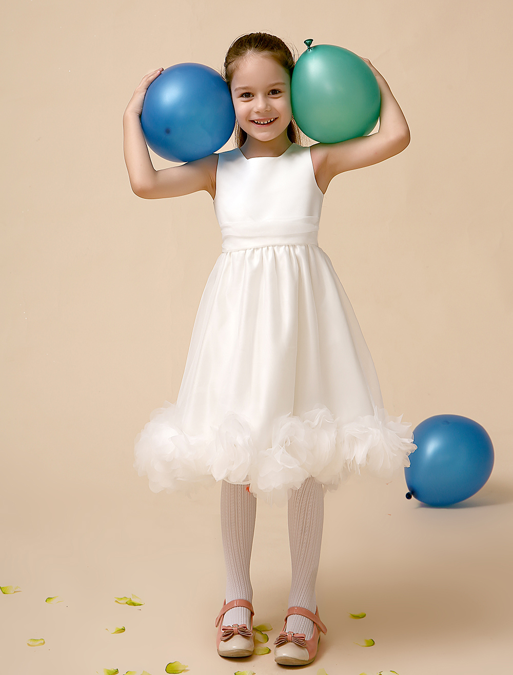 Princess Ivory A-line Jewel Neck Tea-Length Flower Flower Girl Dress