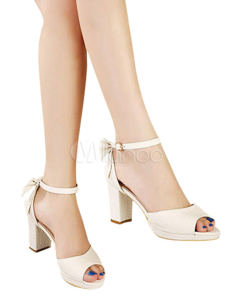 3e382ccb12b3 ... Fabulous White Chunky Heel Bow PU Leather Women s Peep Toe Shoes -No.7