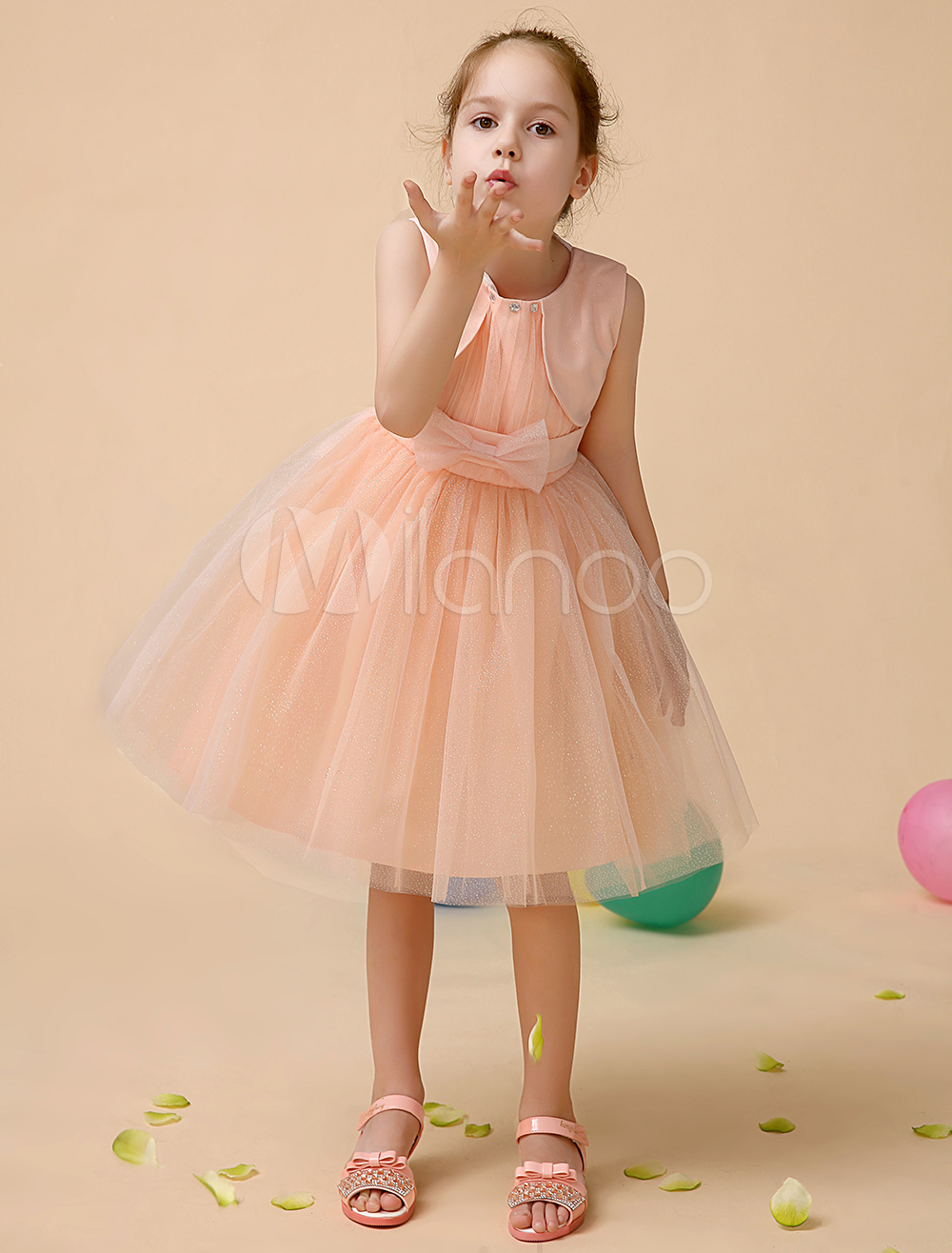 flower girl dresses short tutu dress toddlers tulle sleeveless satin ribbon bow sash rhinestones. Black Bedroom Furniture Sets. Home Design Ideas