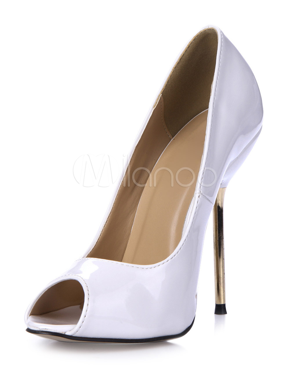 Glamour White Stiletto Heel Patent PU Upper Peep Toe Shoes