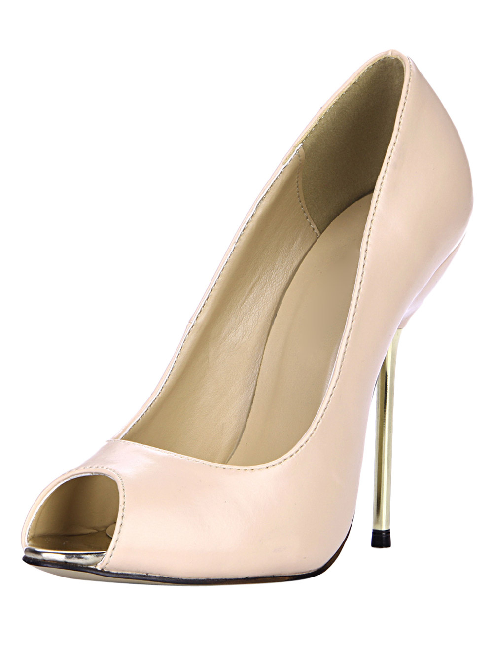 Nude PU Leather Fabulous Peep Toe Stiletto Heel Shoes