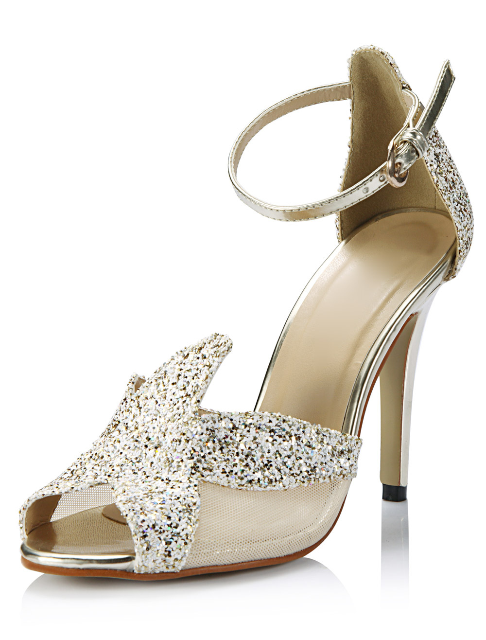 Chic Cut Out Stiletto Heel Sequined Cloth Fashion Dress Sandals
