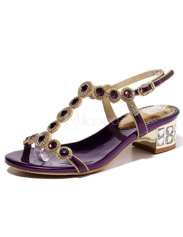 Purple Cowhide Chunky Heel Buttons T-strap Sandals