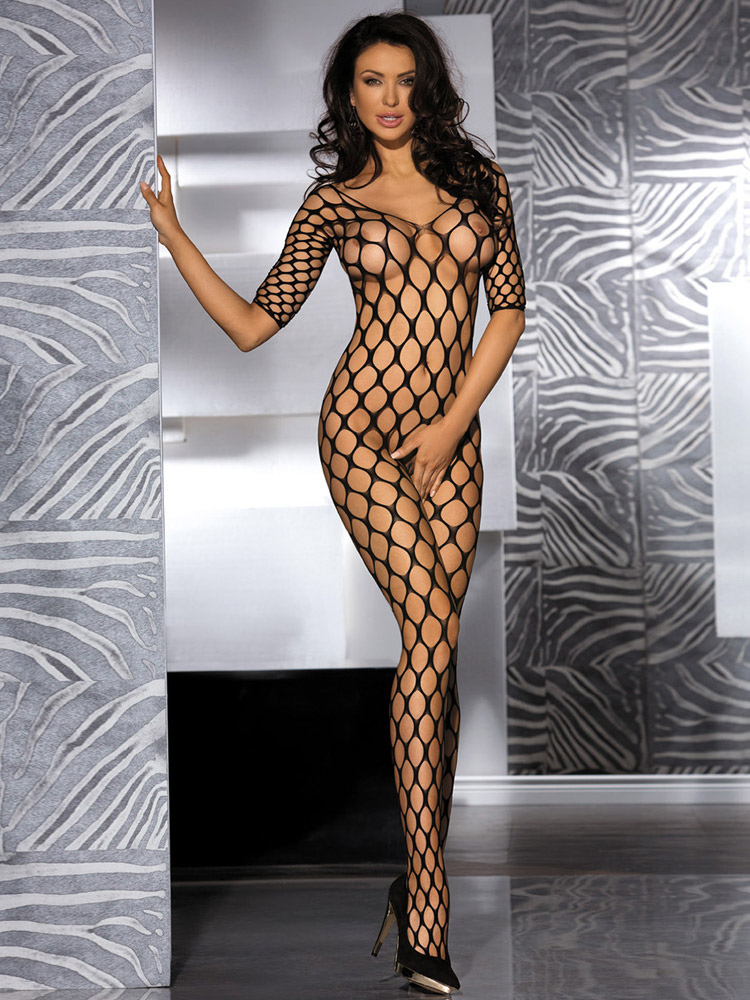 Crotchless Nets Nylon Black Woman's Bodystockings Cheap clothes, free shipping worldwide