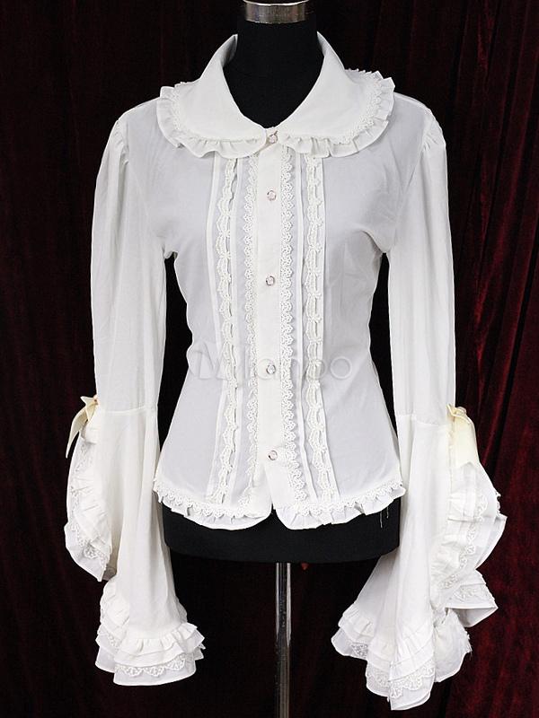 Sleeveless Hime Ecru White Chiffon Long Sleeves Lolita Blouse