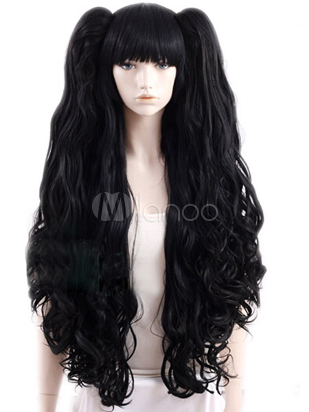 Black Curly Heat-resistant Fiber Cosplay Woman's Long Carnival wig Cheap clothes, free shipping worldwide