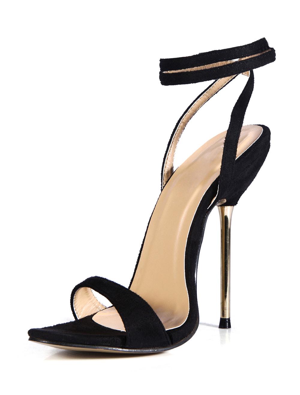design senza tempo 547d4 7d173 Moda nero tacco a spillo raso elasticizzato levigatura sandali abito