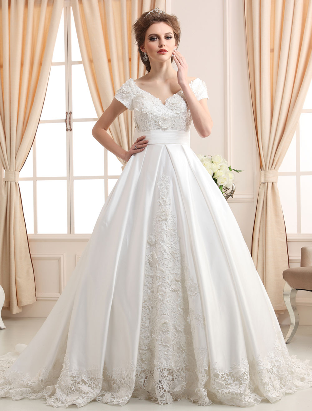 Chapel Train Ivory Wedding Dress For Bride with Off-The-Shoulder Bow