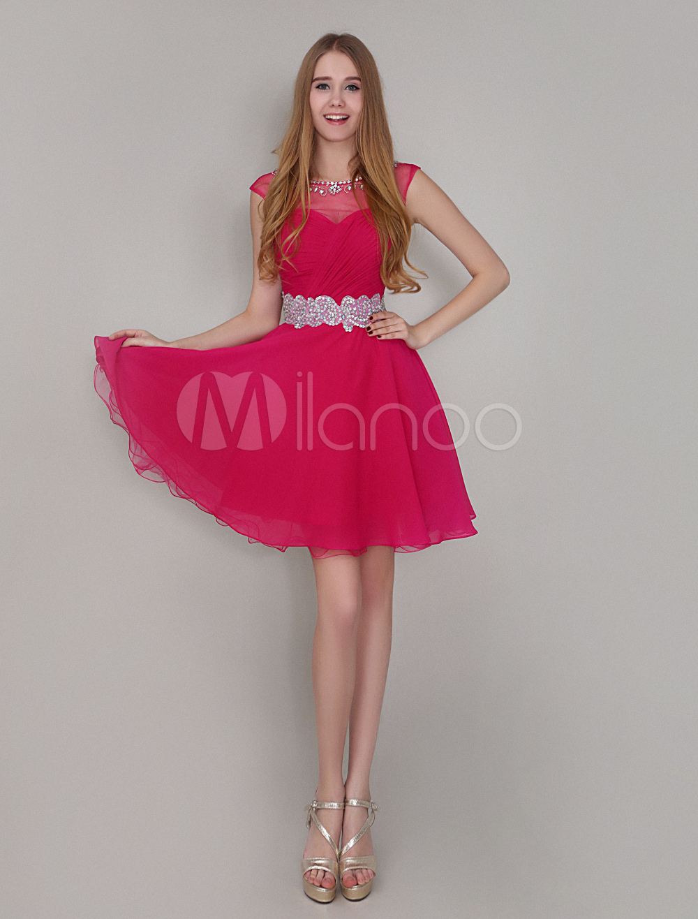 Short Homecoming Dress Sweetheart Ruched Chiffon Prom Dress Hot Pink A Line Beaded Jewel Neck Party Dress