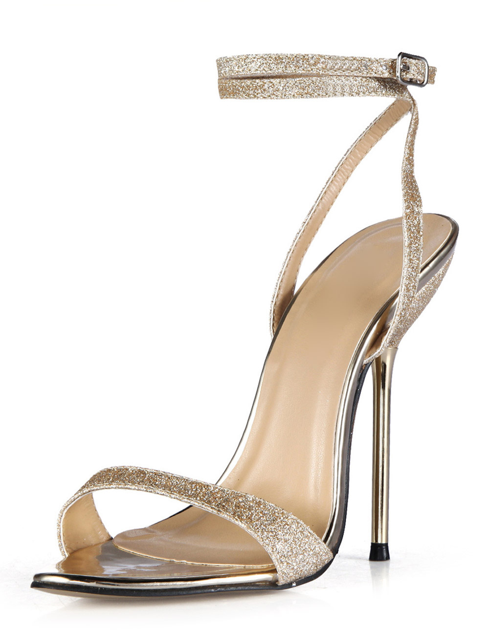 Women Gold Sandals High Heel Sandals Sequined Open Toe Ankle Strap Dress Shoes