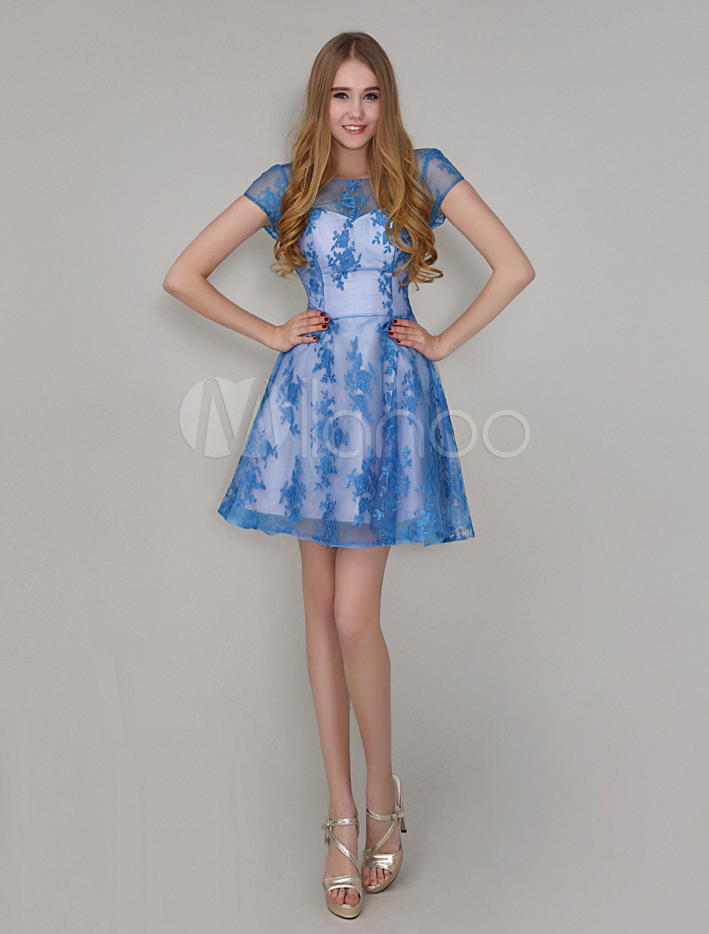 Buy Ocean Blue A-line Lace Mini Cocktail Dress with Jewel Neck for $113.99 in Milanoo store