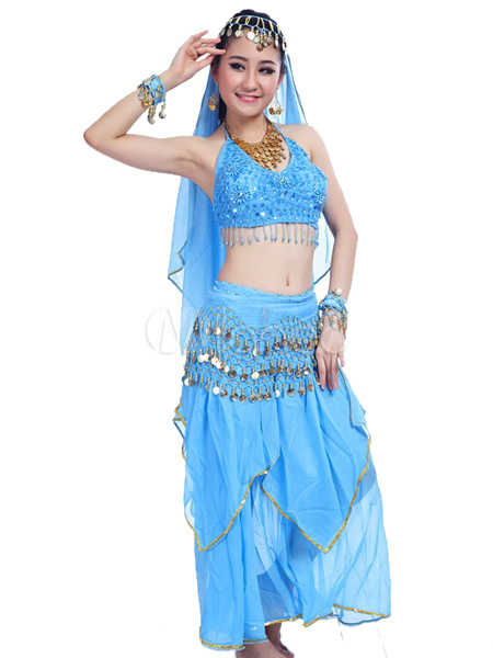 Buy Belly Dance Costume Chiffon Women's Bollywood Dance Dress With Seperated Top for $23.74 in Milanoo store