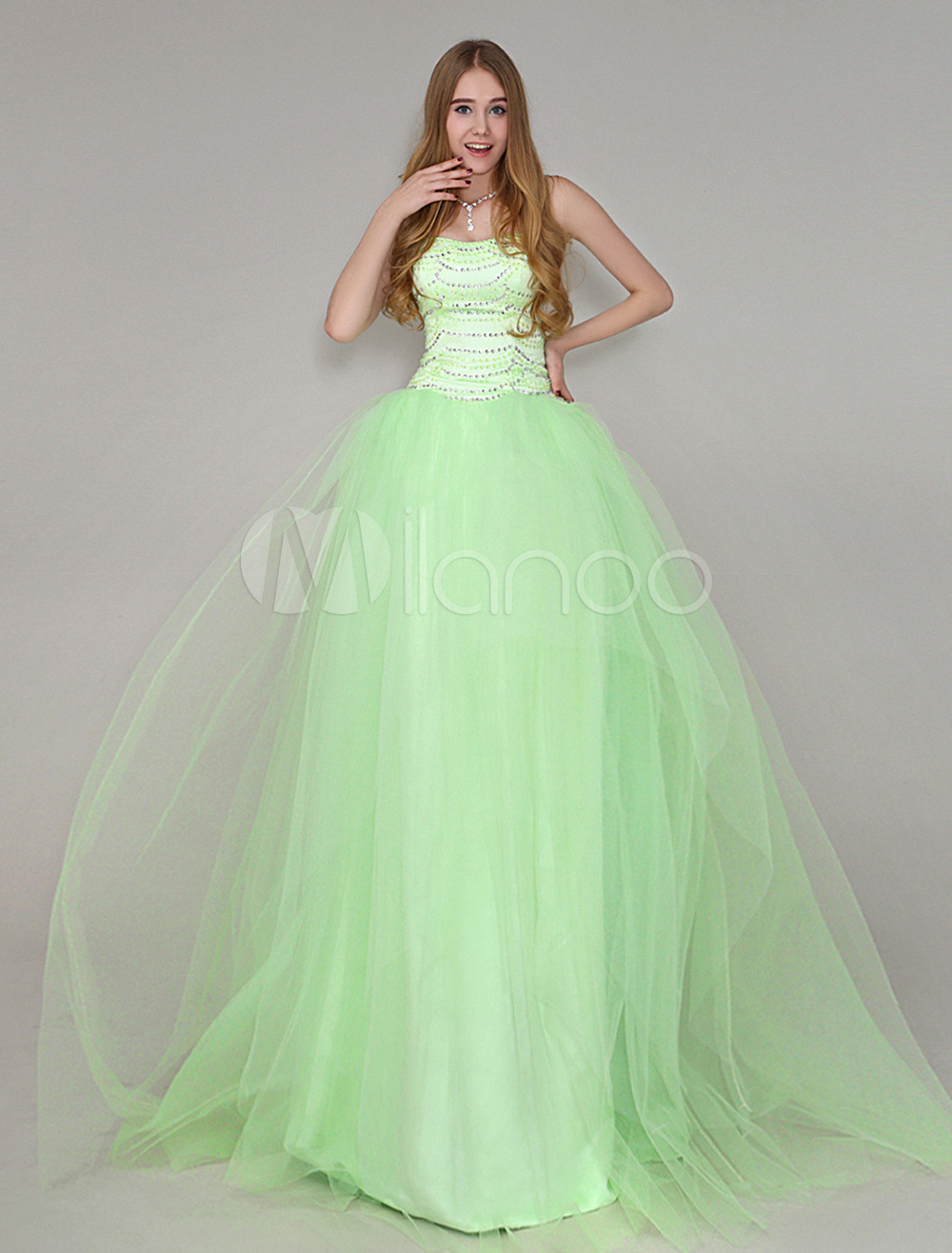 Tulle Floor-Length Lace Beading Prom Dress With Sweetheart Neck