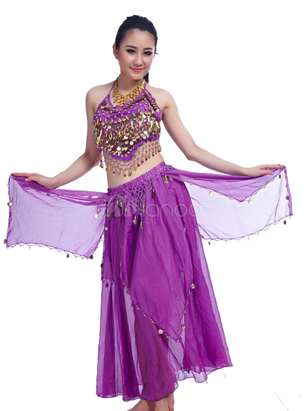 Belly Dance Costume Purple Chiffon Bollywood Dance Dress with top seperated For women