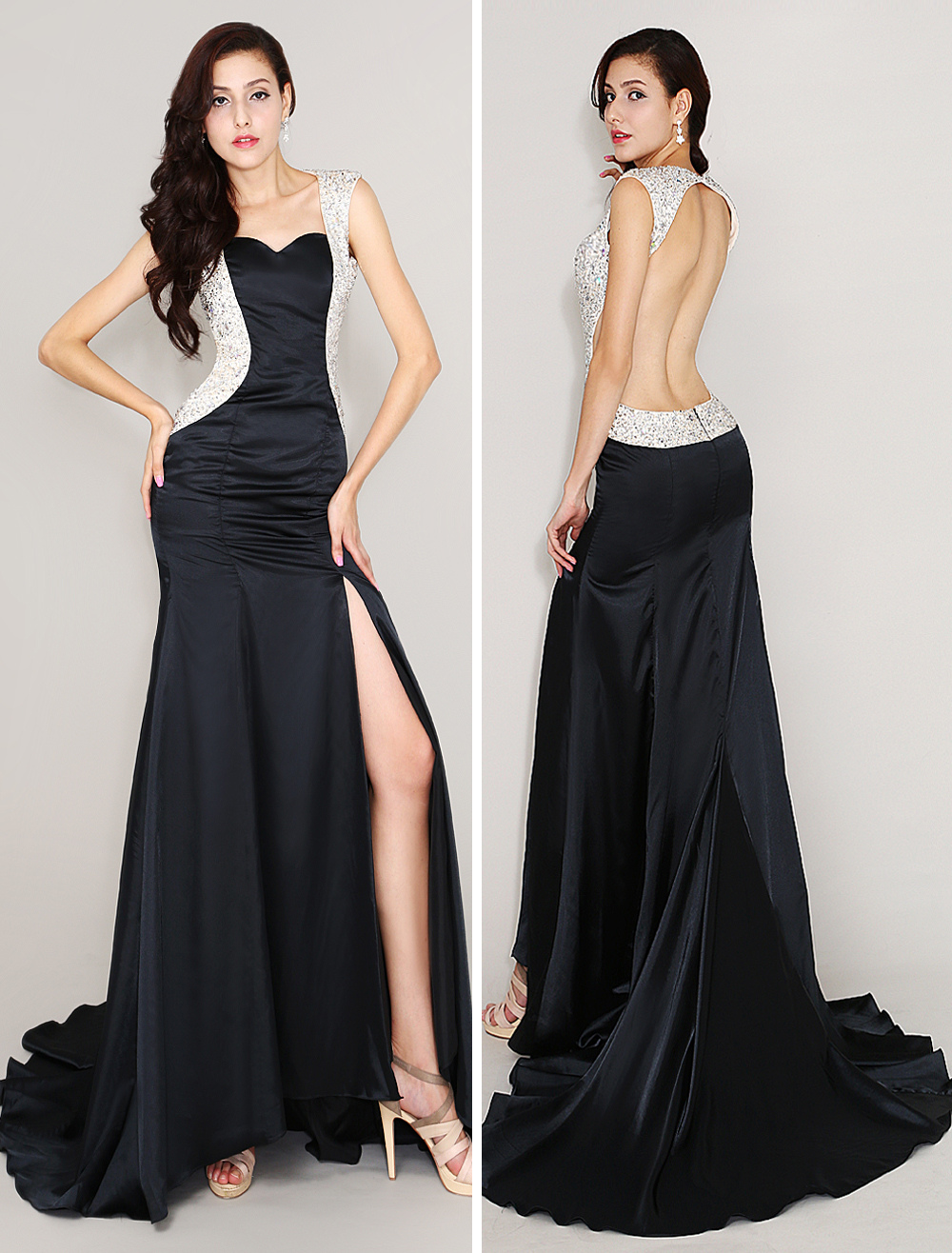 Buy Black Elastic Silk Like Satin Sweep Evening Dress With Sweetheart Neck for $128.69 in Milanoo store