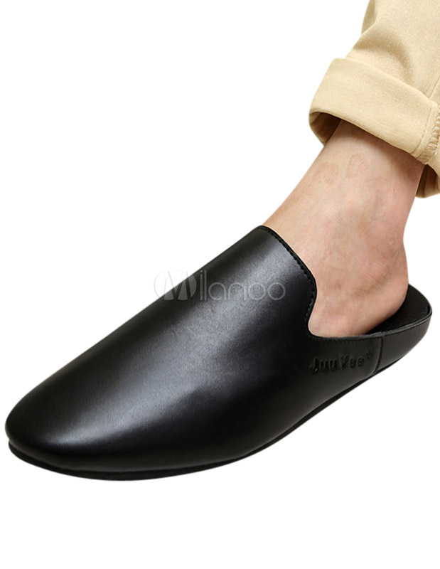63d1e1b27ea ... Backless Pointed Toe PU Leather Loafer Shoes For Men -No.13 ...