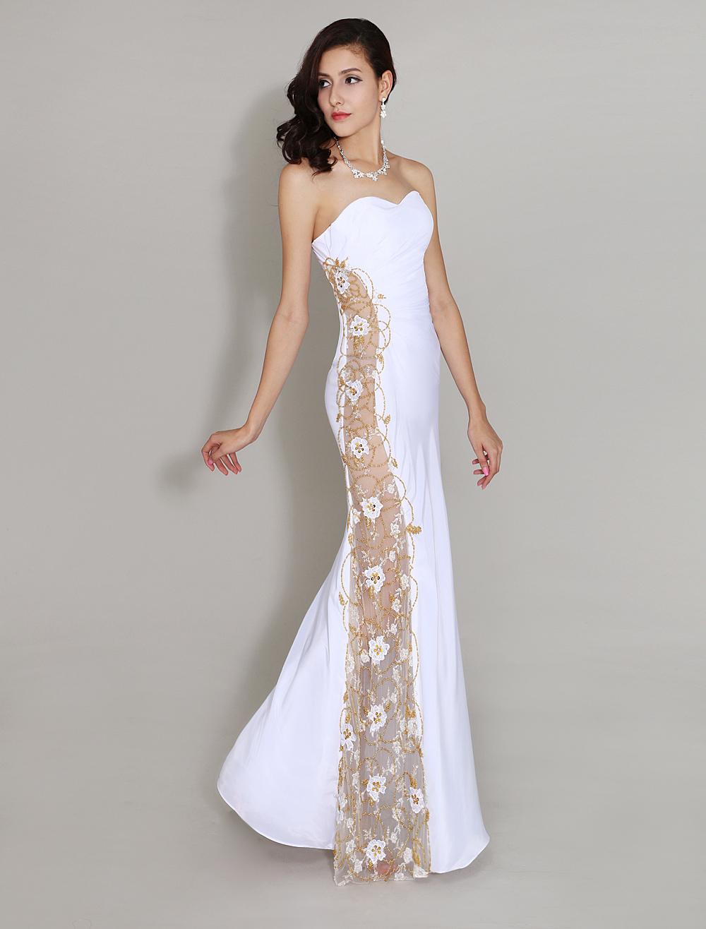 Abendkleid aus chiffon in wei for Milanoo abendkleider