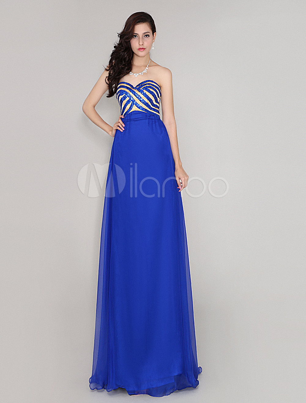 Buy Royal Blue 30D Chiffon Sequined Prom Dress for $108.89 in Milanoo store