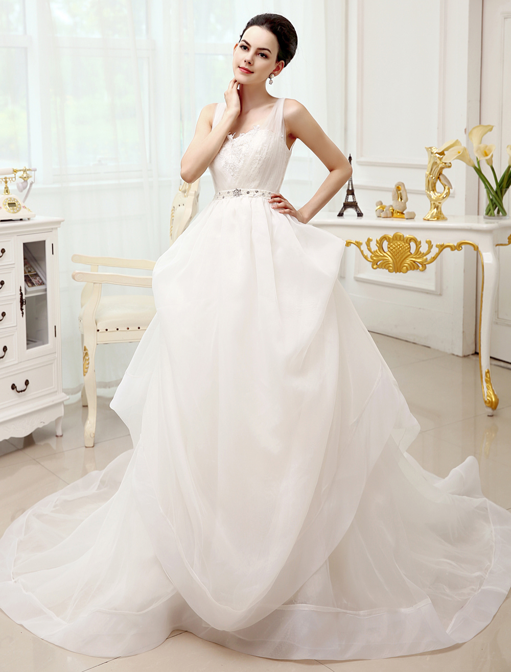 Buy Ivory V-Neck Tulle Chapel Train Wedding Dress For Bride with Beading for $201.59 in Milanoo store