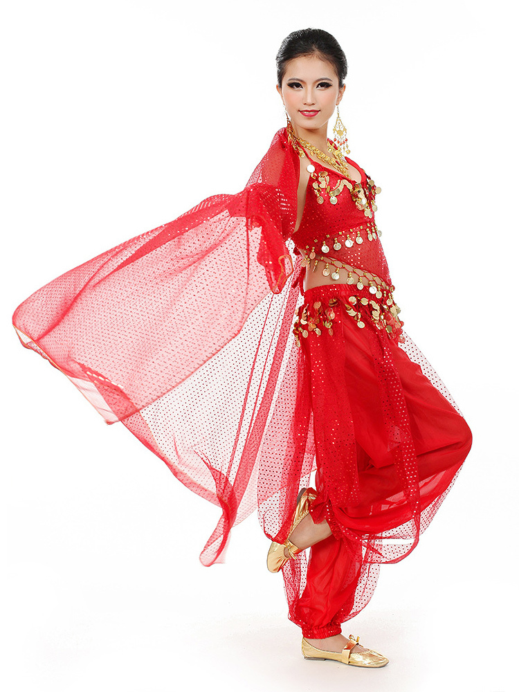 Belly Dance Costume Chiffon Women's Red Bollywood Dance Dress With Scarf