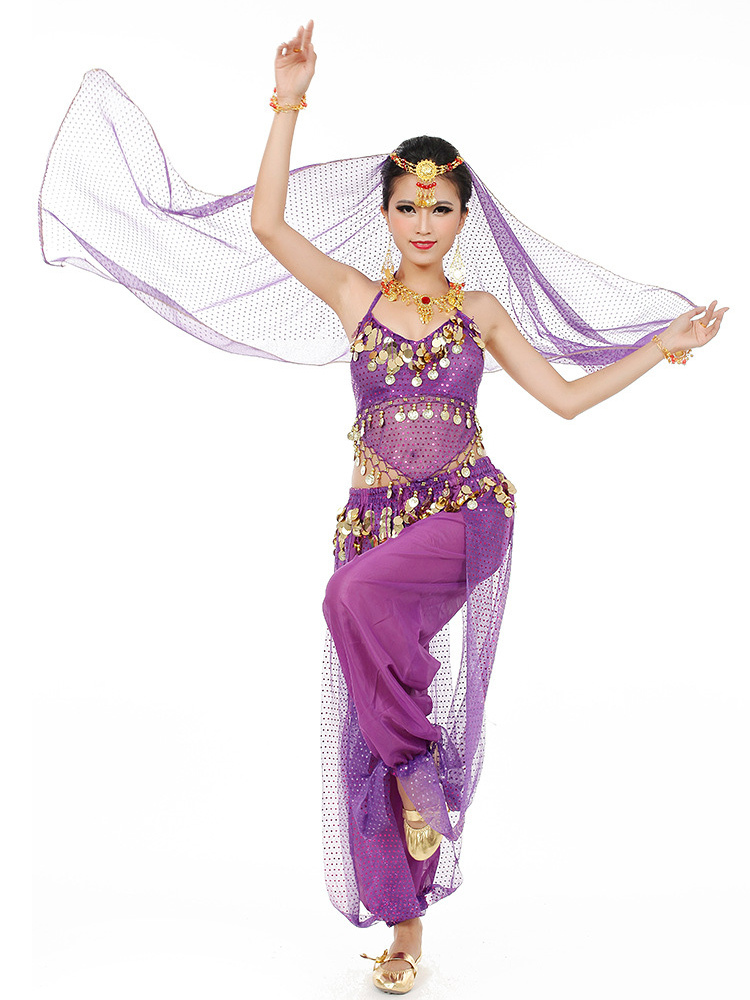 05894678ecd2c ... Belly Dance Costume Chiffon Women's Red Bollywood Dance Dress With Scarf  ...