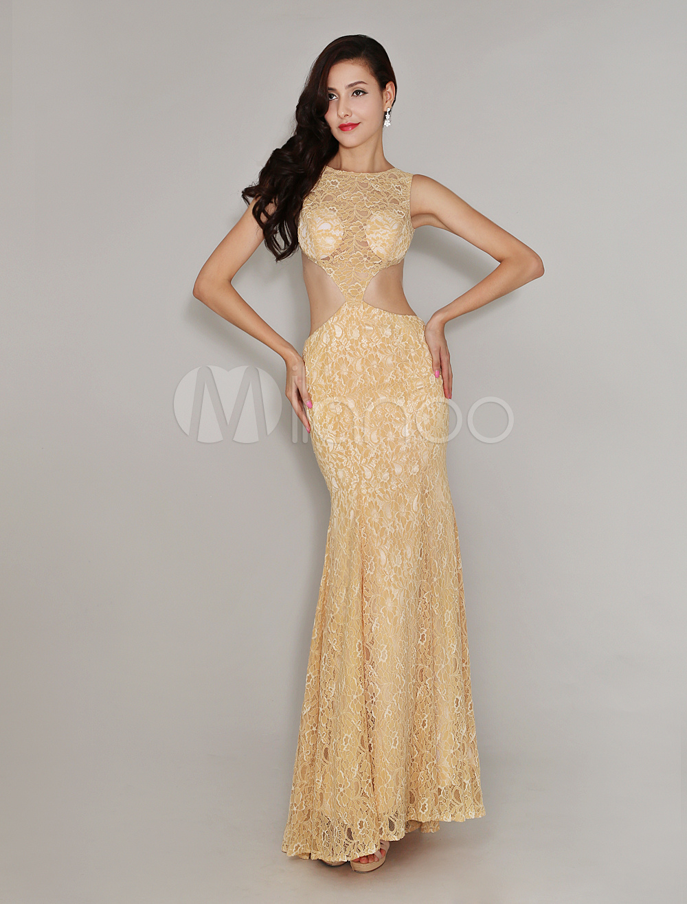 Buy Champagne Bateau Neck Sweep Lace Mermaid Evening Dress for $161.99 in Milanoo store