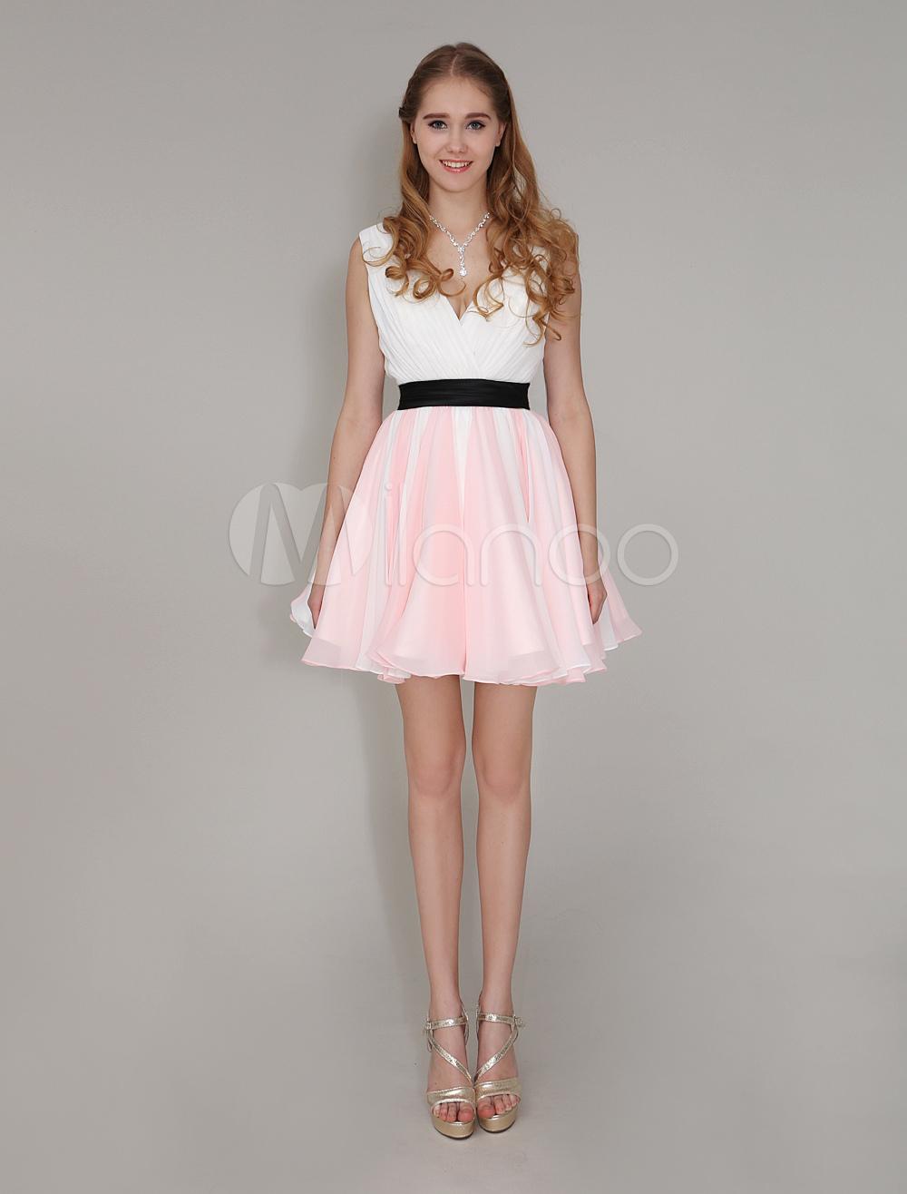 Color Block Bridesmaid Dress Deep-V V-Back Pleated Chiffon Dress Milanoo