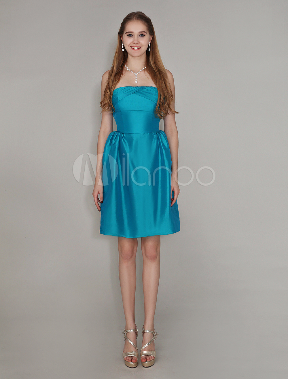 Buy Teal Strapless Bridesmaid Dress Taffeta A Line Cocktail Dress Knee Length Pleated Short Wedding Party Dress Wedding Guest Dress for $79.99 in Milanoo store
