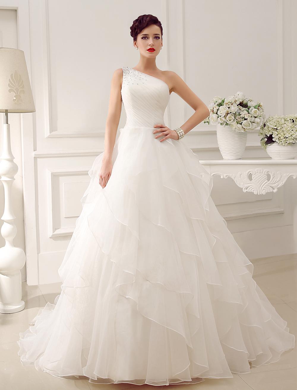 Ivory One-Shoulder Rhinestone Satin Organza Tulle Wedding Dress  Milanoo