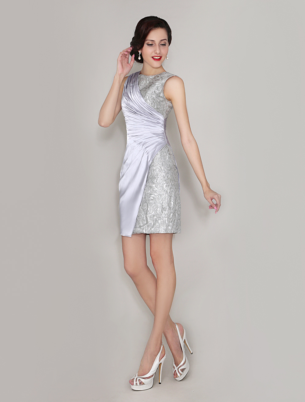 Buy Cocktail Dresses Silver Sheath Wedding Guest Dresses Crewneck Lace Sleeveless Mother Of The Bride Dress Wedding Guest Dress for $119.99 in Milanoo store