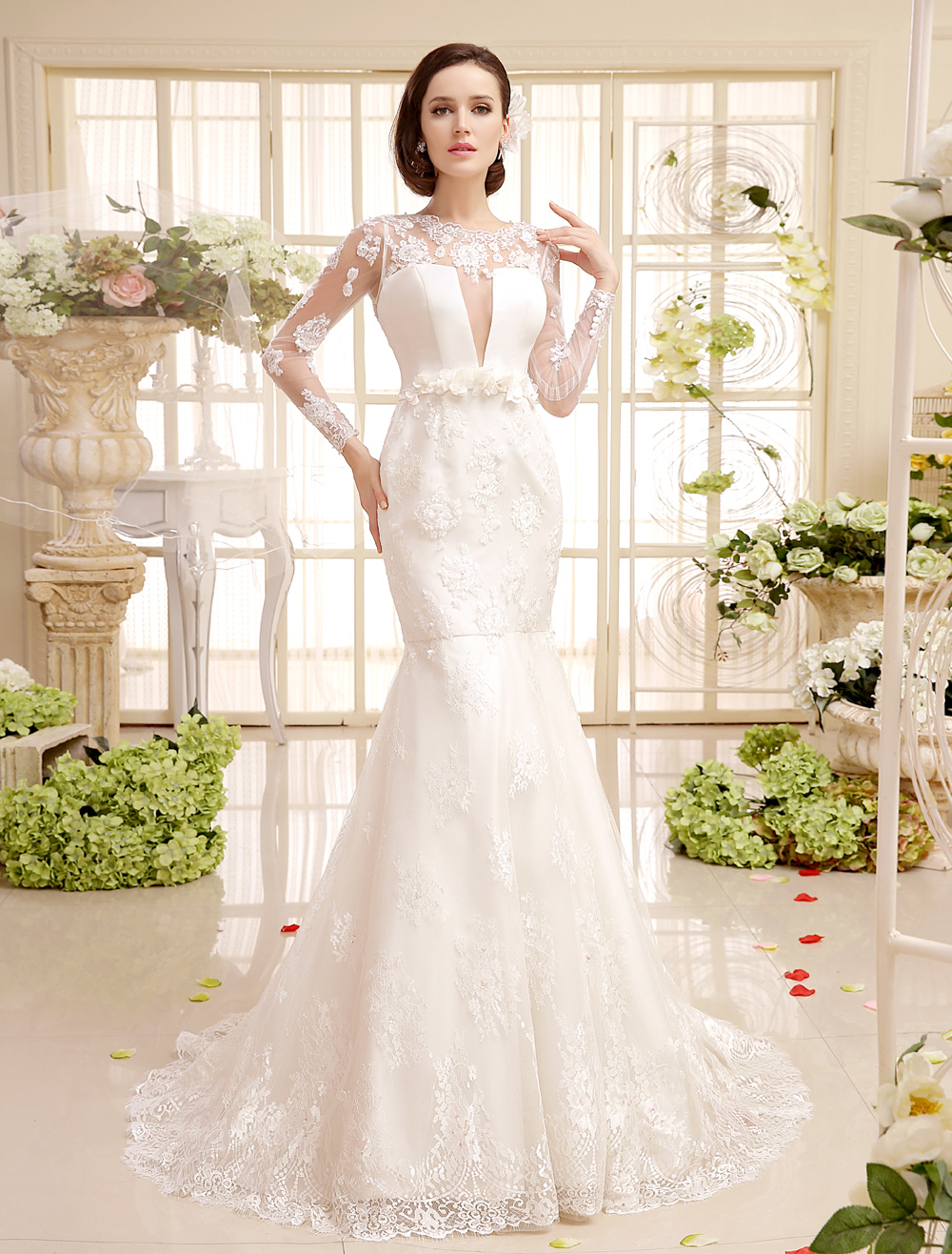 Ivory Applique Flower Court Train Lace Bridal Wedding Gown Milanoo