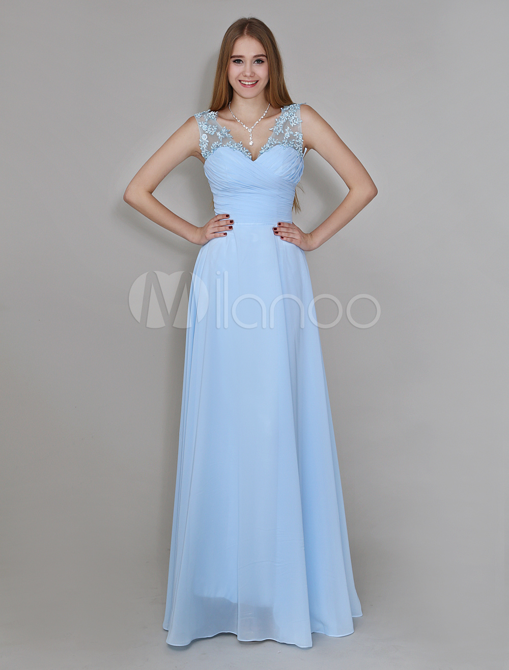 Light Sky Blue V-Neck Floor-Length Chiffon Bridesmaid Dress With Flower On Shoulder