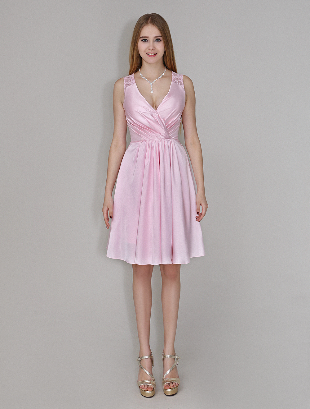 Charming Knee-Length Pink Bridesmaid Dress With V-Neck Lace Satin  Wedding Guest Dress