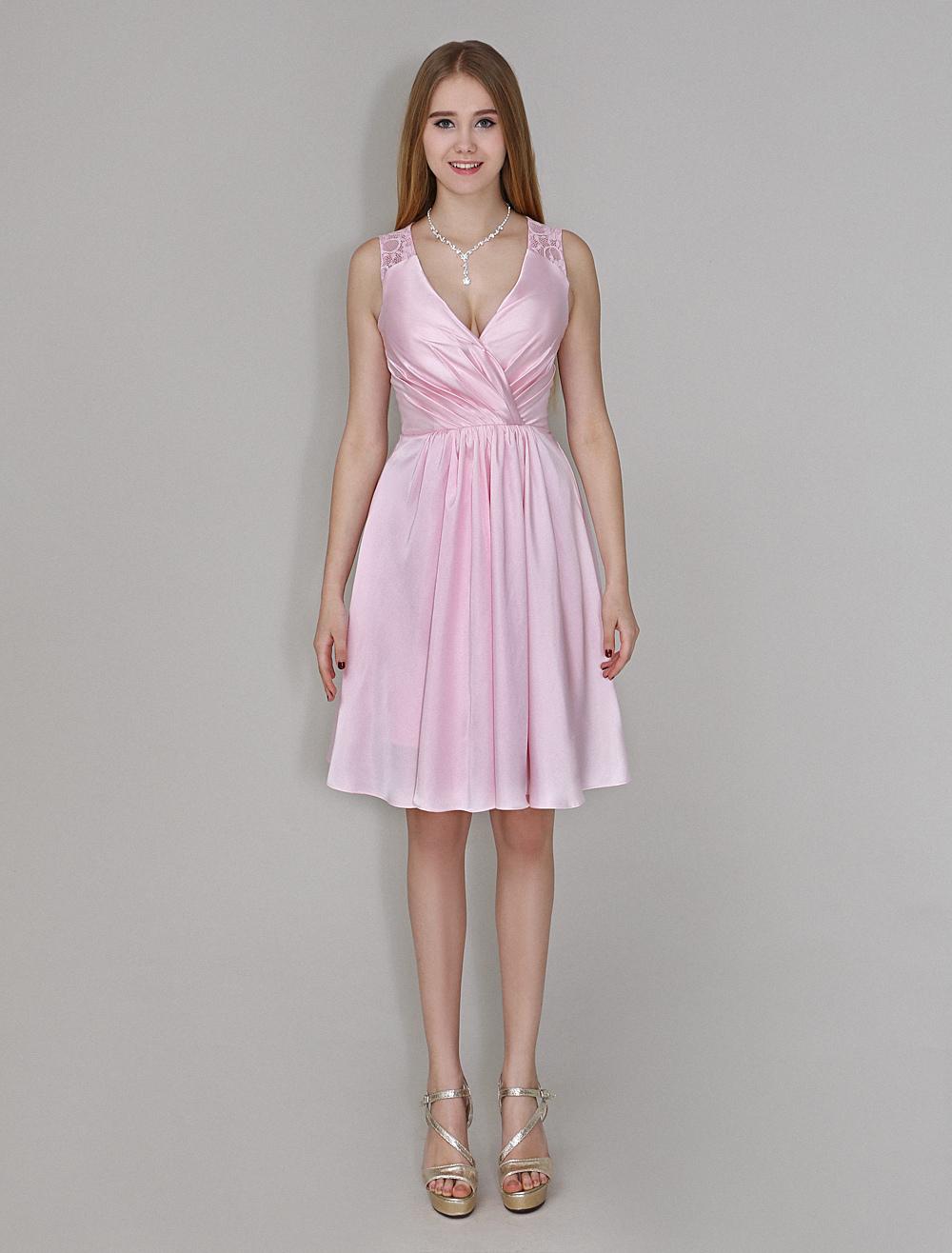 A linie brautjungfernkleid mit v ausschnitt in rosa - Kleider milanoo ...